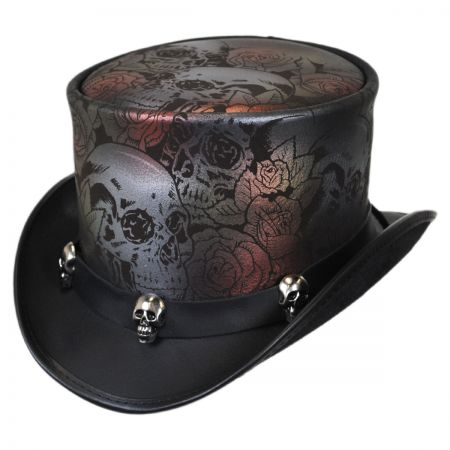 Head 'N Home Skull N Roses Leather Top Hat
