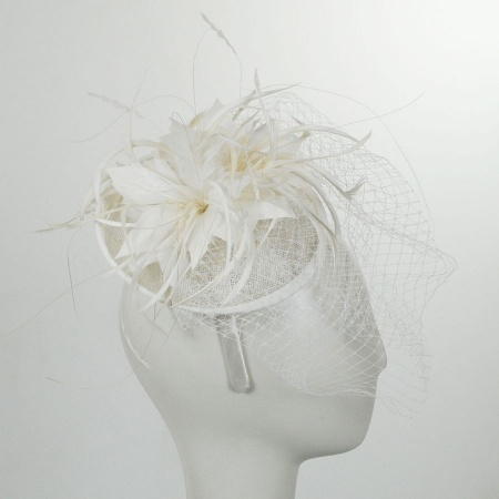 Jeanne Simmons Veil and Feather Fascinator Headband