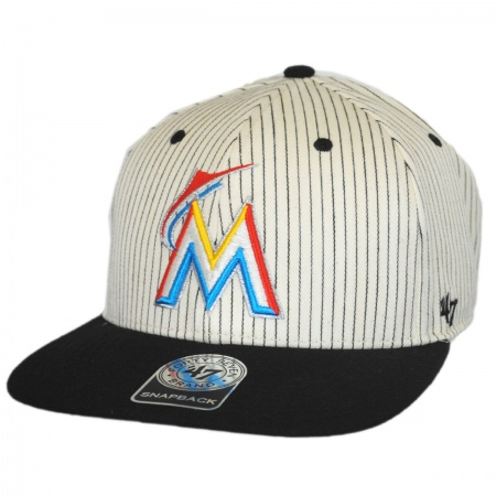 47 Brand Miami Marlins MLB Woodside Stripe Snapback Baseball Cap