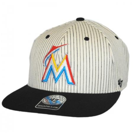 47 Brand Miami Marlins MLB Woodside Stripe Snapback Baseball Cap