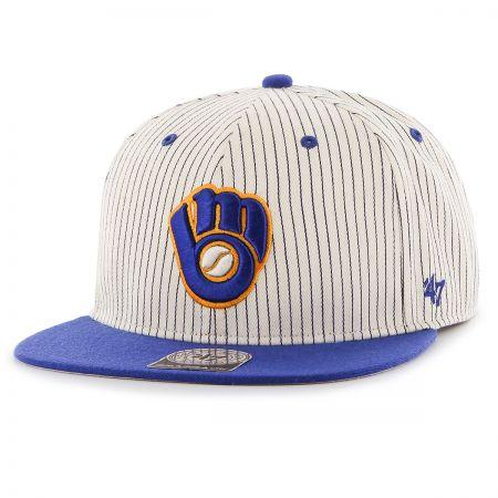 47 Brand Milwaukee Brewers MLB Woodside Stripe Snapback Baseball Cap
