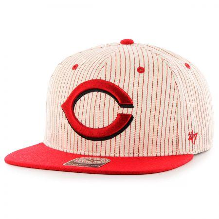 47 Brand Cincinnati Reds MLB Woodside Stripe Snapback Baseball Cap
