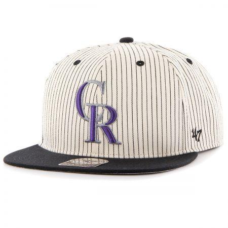 47 Brand Colorado Rockies MLB Woodside Stripe Snapback Baseball Cap
