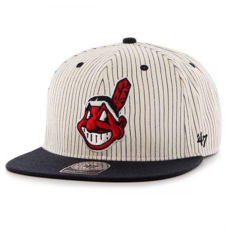47 Brand Cleveland Indians MLB Woodside Stripe Snapback Baseball Cap