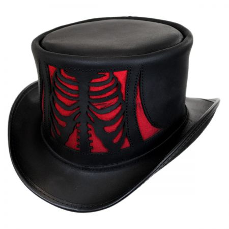Head 'N Home Skeletor Leather Top Hat