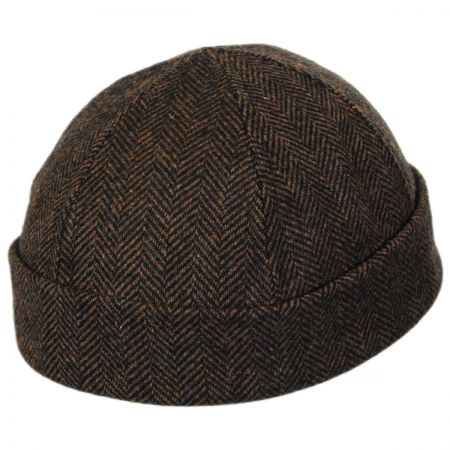 New York Hat & Cap Six Panel Wool Herringbone Skull Cap Beanie