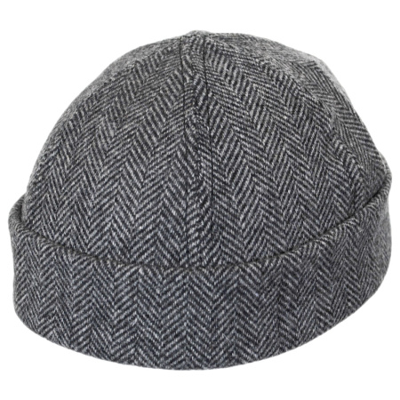 New York Hat & Cap Six Panel Wool Herringbone Skull Cap Beanie
