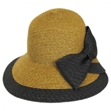 Overlap Brim and Bow Toyo Straw Sun Hat