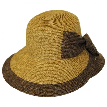 Jeanne Simmons Overlap Brim and Bow Toyo Straw Sun Hat