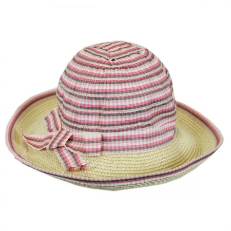 Jeanne Simmons Child's Ribbon and Straw Kettle Brim Sunhat