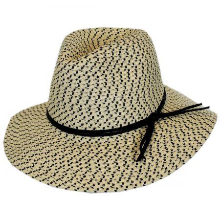 Karen Keith Tweed Toyo Straw Safari Fedora Hat