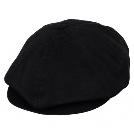 Brixton Hats Brood Black Cotton Herringbone Newsboy