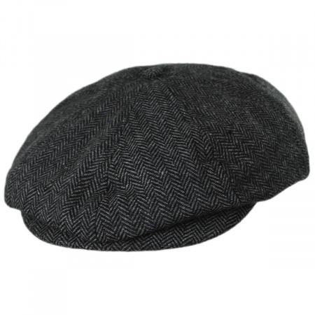 Brood Herringbone Wool Blend Newsboy Cap - Gray/Black alternate view 4