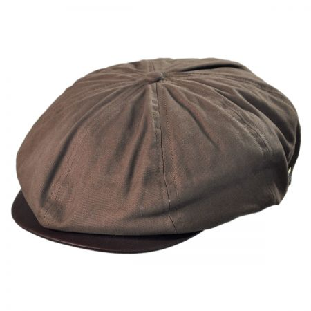 Brixton Hats Brood Faux Leather Bill Cotton Newsboy Cap