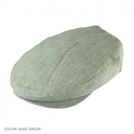 Brixton Hats Barrel Wide Herringbone Linen Ivy Cap