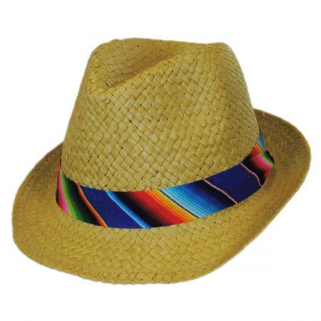 San Diego Hat Company Kid's Zarape Toyo Straw Fedora Hat