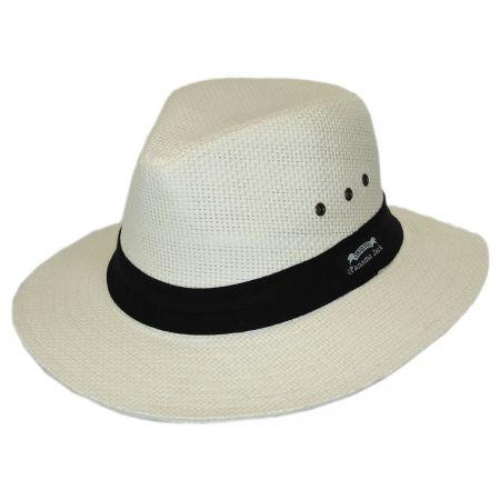 Two Pleat Band Toyo Straw Safari Fedora Hat alternate view 1