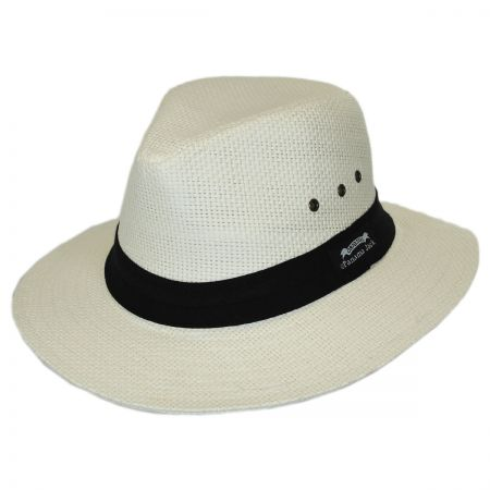 Panama Jack Two Pleat Band Straw Safari Fedora Hat