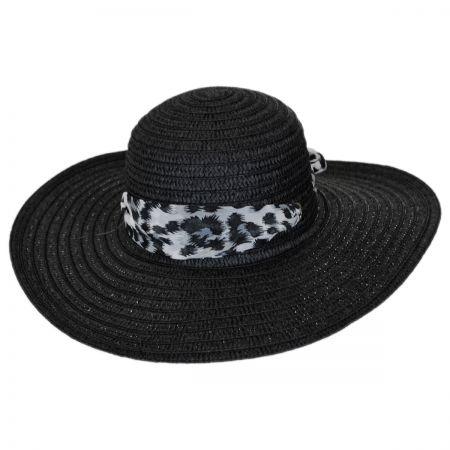 Panama Jack Leopard Scarf Toyo Straw Swinger Hat