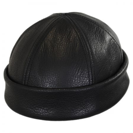 New York Hat & Cap Six Panel Leather Skull Cap Beanie