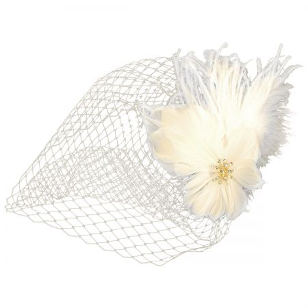 Arturo Rios Collection Feather and Veil Comb Fascinator
