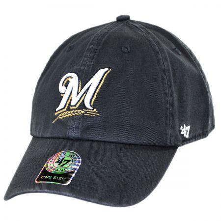 47 Brand Milwaukee Brewers MLB Clean Up Strapback Baseball Cap Dad Hat
