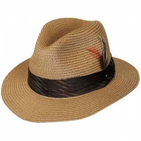B2B Jaxon Toyo Straw Braid Safari Fedora Hat