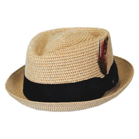 B2B Jaxon Toyo Straw Diamond Crown Fedora Hat