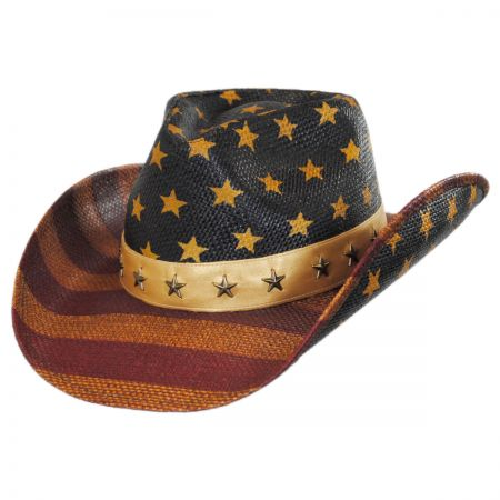 Karen Keith Distressed USA Flag Toyo Straw Western Hat