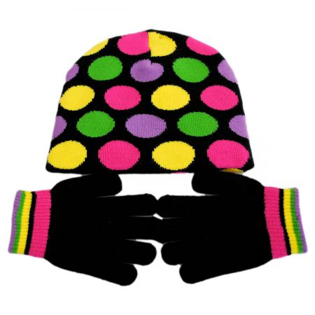 Kindercaps Kids' Dot Knit Beanie Hat and Gloves Set