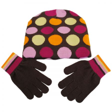 Kindercaps Kids' Dot Knit Beanie Hat and Gloves Set