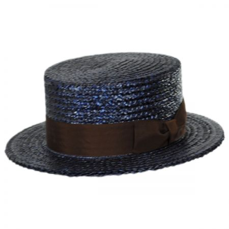 Stetson Sennett Italian Skimmer with Solid Hat Band - Navy