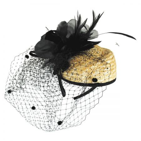 Jeanne Simmons Pom Veil Straw Fascinator Headband