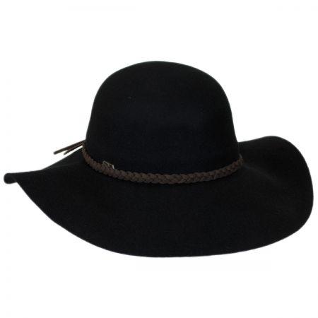 Scala Braided Suede Band Wool Felt Floppy Hat