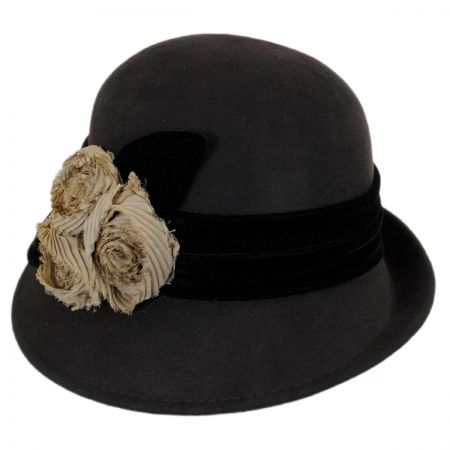 Callanan Hats Chiffon Flowers Wool Cloche Hat