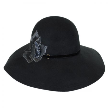 Callanan Hats Embroidered Flower Wool Floppy Downbrim Hat