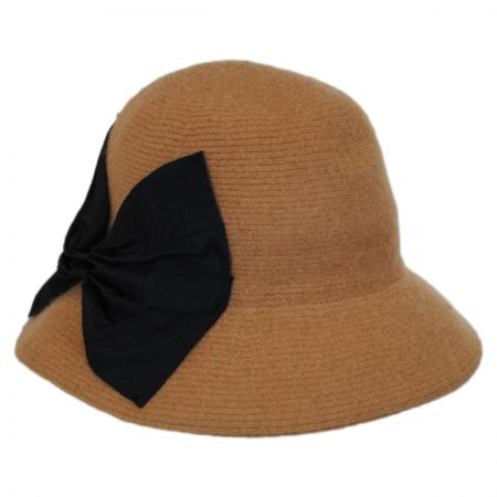 Callanan Hats Pleated Bow Knit Wool Roller Hat