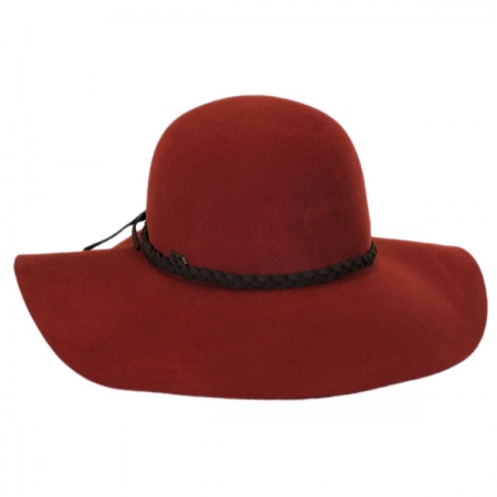 Scala Braided Suede Band Wool Felt Floppy Hat
