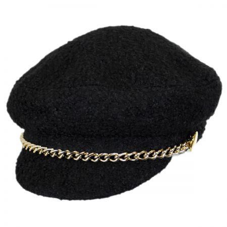 Scala Boucle & Chain Faux Wool Fisherman Cap