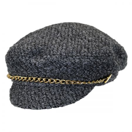 Scala Boucle and Chain Faux Wool Fisherman Cap
