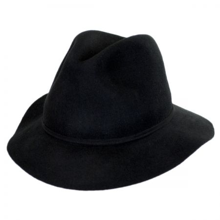 Scala Feather and Bead Wool Felt Fedora Hat