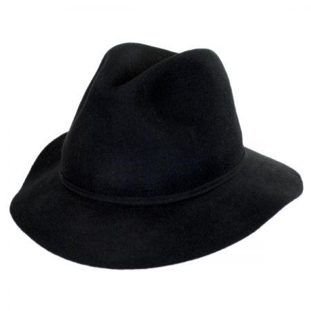 Scala Feather & Bead Wool Felt Fedora Hat