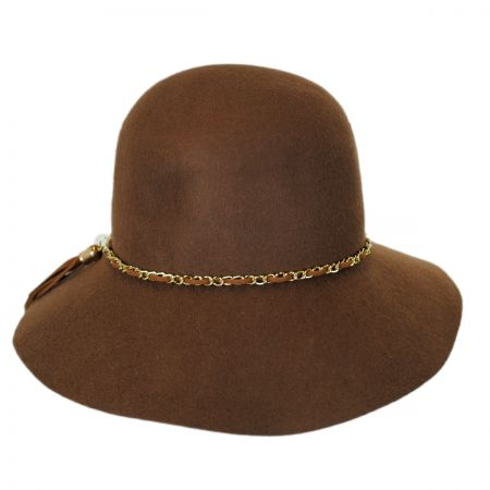 Callanan Hats Chain and Tassel Wool Felt Cloche Hat
