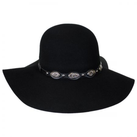 Scala Leather & Conchos Wool Felt Floppy Hat