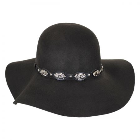 Scala Leather and Conchos Wool Felt Floppy Hat