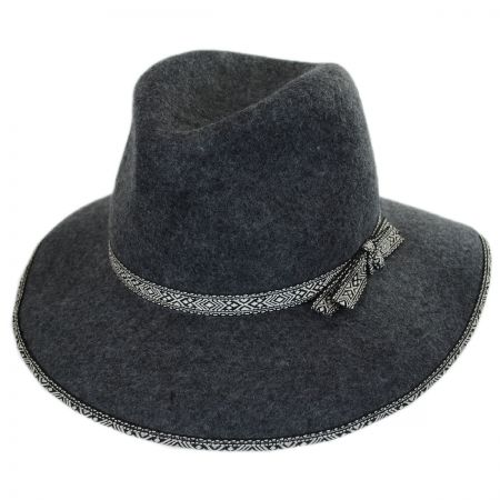Jeanne Simmons Tribal Trim Wool Felt Fedora Hat