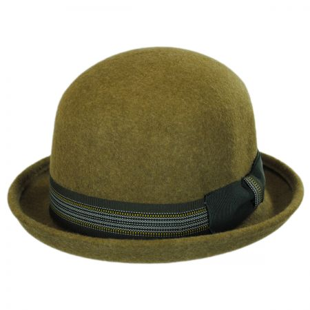 Jeanne Simmons Striped Band Wool Felt Bowler Hat