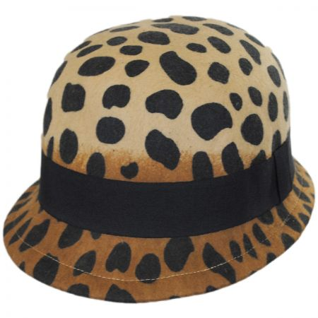 Jeanne Simmons Cheetah Wool Felt Cloche Hat