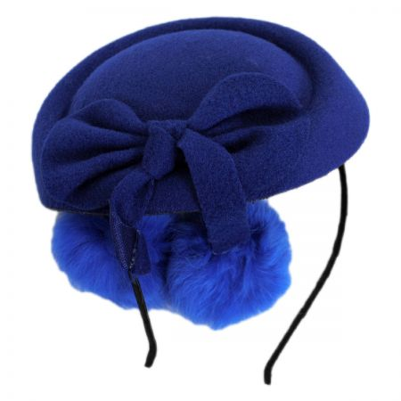 Jeanne Simmons Angora Pom Pillbox Fascinator Hat