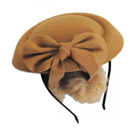 Jeanne Simmons Angora Pom Pillbox Fascinator Hat